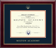 Milton Academy Diploma Frame - Gold Embossed Diploma Frame in Gallery