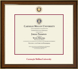 Carnegie Mellon University Diploma Frame - Dimensions Diploma Frame in Westwood