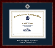University of Connecticut School of Dental Medicine Certificate Frame - Silver Engraved Medallion Certificate Frame in Sutton