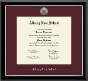 Albany Law School Diploma Frame - Silver Engraved Medallion Diploma Frame in Onyx Silver
