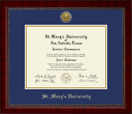 St. Mary's University Diploma Frame - Gold Engraved Medallion Diploma Frame in Sutton