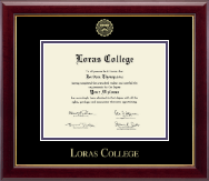 Loras College Diploma Frame - Gold Embossed Diploma Frame in Gallery