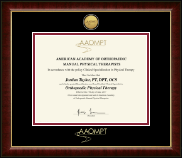 American Academy of Orthopaedic Manual Physical Therapists Certificate Frame - Gold Engraved Medallion Certificate Frame in Murano