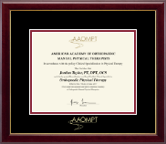 American Academy of Orthopaedic Manual Physical Therapists Certificate Frame - Gold Embossed Certificate Frame in Gallery