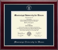 Mississippi University for Women Diploma Frame - Silver Embossed Diploma Frame in Gallery Silver