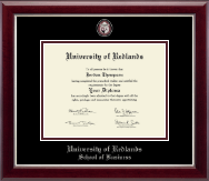 University of Redlands Diploma Frame - Masterpiece Medallion Diploma Frame in Gallery Silver
