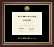 Walla Walla University Diploma Frame - Gold Engraved Medallion Diploma Frame in Hampshire