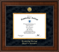 Cambridge College Diploma Frame - Presidential Gold Engraved Diploma Frame in Madison
