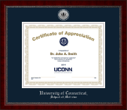 University of Connecticut School of Medicine Certificate Frame - Silver Engraved Medallion Certificate Frame in Sutton
