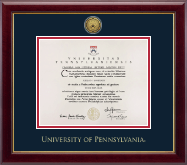 University of Pennsylvania Diploma Frame - Gold Engraved Medallion Diploma Frame in Gallery