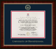 University of Pennsylvania Diploma Frame - Gold Embossed Diploma Frame in Murano