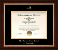 The International School of Hospitality Certificate Frame - Gold Embossed Certificate Frame in Murano