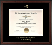 The International School of Hospitality Certificate Frame - Gold Embossed Certificate Frame in Studio Gold