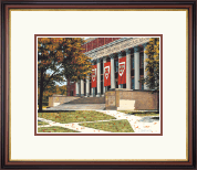 Harvard University Diploma Frame - Framed Lithograph of Widener Library in Regency Gold