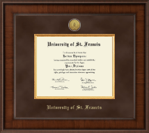 University of St. Francis in Illinois Diploma Frame - Presidential Gold Engraved Diploma Frame in Madison