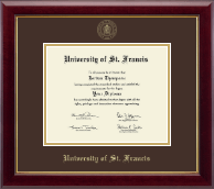 University of St. Francis in Illinois Diploma Frame - Gold Embossed Diploma Frame in Gallery