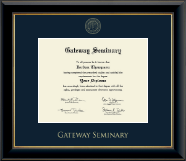 Gateway Seminary Diploma Frame - Gold Embossed Diploma Frame in Onyx Gold