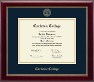 Carleton College Diploma Frame - Gold Embossed Diploma Frame in Gallery