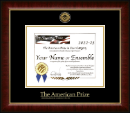 The American Prize Certificate Frame - Gold Engraved Medallion Certificate Frame in Murano