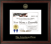 The American Prize Certificate Frame - Gold Embossed Certificate Frame in Studio