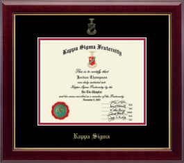 Kappa Sigma Certificate Frame - Gold Embossed Certificate Frame in Gallery