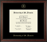 University of St. Francis in Illinois Diploma Frame - Gold Embossed Diploma Frame in Studio