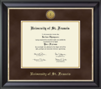 University of St. Francis in Illinois Diploma Frame - Gold Engraved Medallion Diploma Frame in Noir
