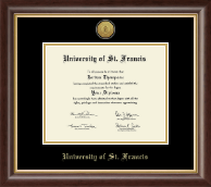 University of St. Francis in Illinois Diploma Frame - Gold Engraved Medallion Diploma Frame in Hampshire