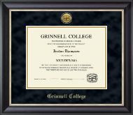 Grinnell College Diploma Frame - Gold Engraved Medallion Diploma Frame in Midnight