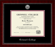Grinnell College Diploma Frame - Silver Engraved Medallion Diploma Frame in Sutton