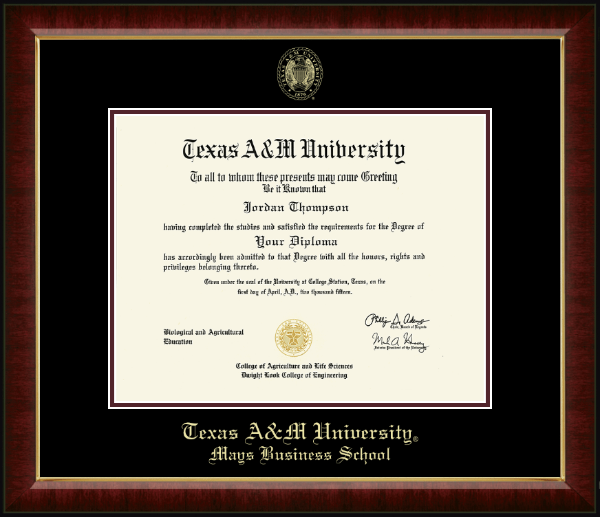 Texas A Amp M University Gold Embossed Diploma Frame In Murano