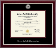 Texas A&M University Diploma Frame - Silver Engraved Medallion Diploma Frame in Gallery Silver