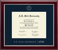A.T. Still University Diploma Frame - Silver Embossed Diploma Frame in Gallery Silver