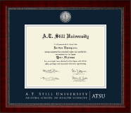 A.T. Still University Diploma Frame - Silver Engraved Medallion Diploma Frame in Sutton