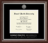 Hawaii Pacific University Diploma Frame - Silver Engraved Medallion Diploma Frame in Devonshire