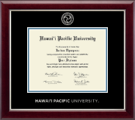 Hawaii Pacific University Diploma Frame - Silver Embossed Diploma Frame in Gallery Silver