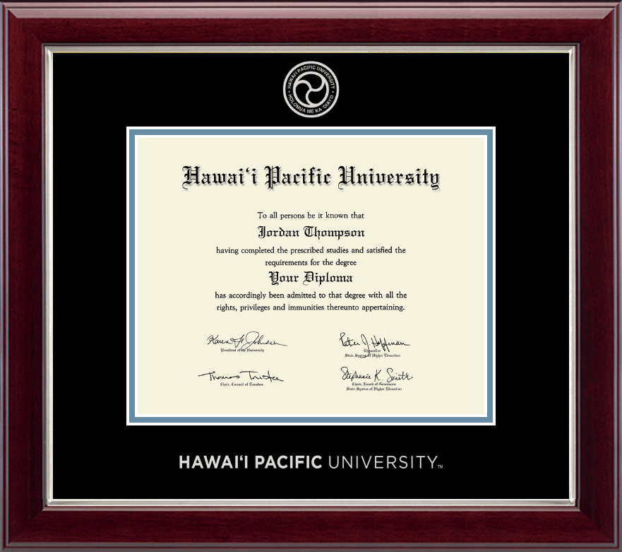 Hawaii Pacific University Silver Embossed Diploma Frame In Gallery