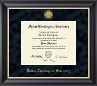 Dallas Theological Seminary Diploma Frame - Gold Engraved Medallion Diploma Frame in Noir