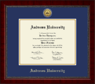 Andrews University Diploma Frame - Gold Engraved Medallion Diploma Frame in Sutton