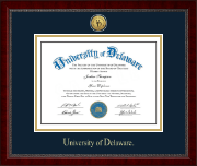 University of Delaware Diploma Frame - Gold Engraved Medallion Diploma Frame in Sutton