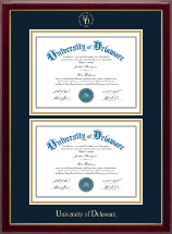 University of Delaware Diploma Frame - Double Diploma Frame in Gallery