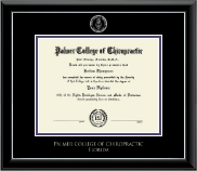 Palmer College of Chiropractic Florida Diploma Frame - Silver Embossed Diploma Frame in Onyx Silver