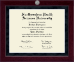 Northwestern Health Sciences University Diploma Frame - Millennium Silver Engraved Diploma Frame in Cordova