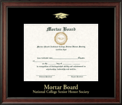 Mortar Board National College Senior Honor Society Certificate Frame - Gold Embossed Certificate Frame in Studio