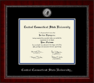 Central Connecticut State University Diploma Frame - Silver Engraved Medallion Diploma Frame in Sutton