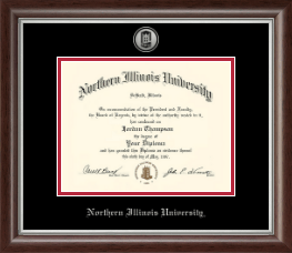 Northern Illinois University Diploma Frame - Silver Engraved Medallion Diploma Frame in Devonshire