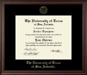 The University of Texas San Antonio Diploma Frame - Gold Embossed Diploma Frame in Studio