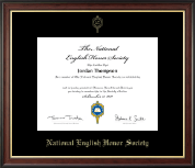 National English Honor Society Certificate Frame - Gold Embossed Certificate Frame in Studio Gold