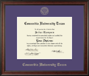 Concordia University Texas Diploma Frame - Gold Embossed Diploma Frame in Studio