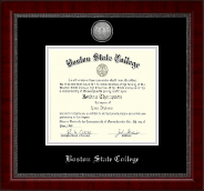 Boston State College Diploma Frame - Silver Engraved Medallion Diploma Frame in Sutton